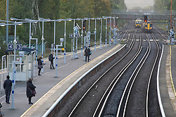 ©Licensed to London News Pictures 15/10/2020  <br /> Petts Wood, UK. A near empty platform at 8am. A cold morning today for London commuters at Petts Wood train station, Petts Wood, South East London. Photo credit:Grant Falvey/LNP