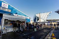 Fans gather at a cafe outside The Den, home of Millwall football club<br /> <br /> Photographer Craig Mercer/CameraSport<br /> <br /> Football - The Football League Sky Bet Championship - Millwall v Middlesbrough - Saturday 6th December 2014 - The Den - London<br /> <br /> © CameraSport - 43 Linden Ave. Countesthorpe. Leicester. England. LE8 5PG - Tel: +44 (0) 116 277 4147 - admin@camerasport.com - www.camerasport.com