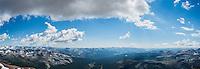 Panoramic view west towards Tuolumne meadows  from summit of Mt. Dana (13,053 ft), Yosemite national park, California, USA
