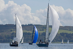 Lights winds dominated the Pelle P Kip Regatta  at Kip Marine weekend of 12/13th May 2018<br /> <br /> Class one fleet with GBR7737R, Aurora, Rod Stuart / A Ram, CCC, Corby 37<br /> <br /> Images: Marc Turner
