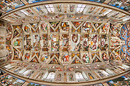 Ceiling of the Sistine Chapel in the Vatican in Rome.