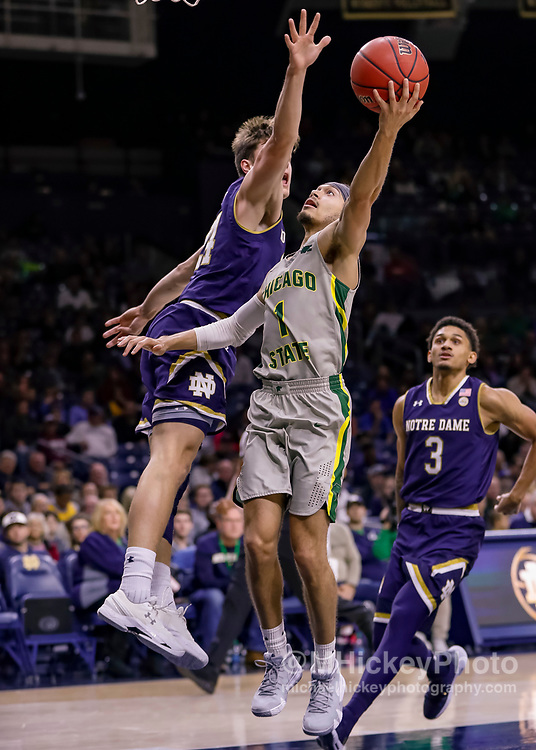 SOUTH BEND, IN - NOVEMBER 08: Rob Shaw #1 of the Chicago State Cougars shoots the ball during the game against the Notre Dame Fighting Irish at Purcell Pavilion on November 8, 2018 in South Bend, Indiana. (Photo by Michael Hickey/Getty Images) *** Local Caption *** Rob Shaw