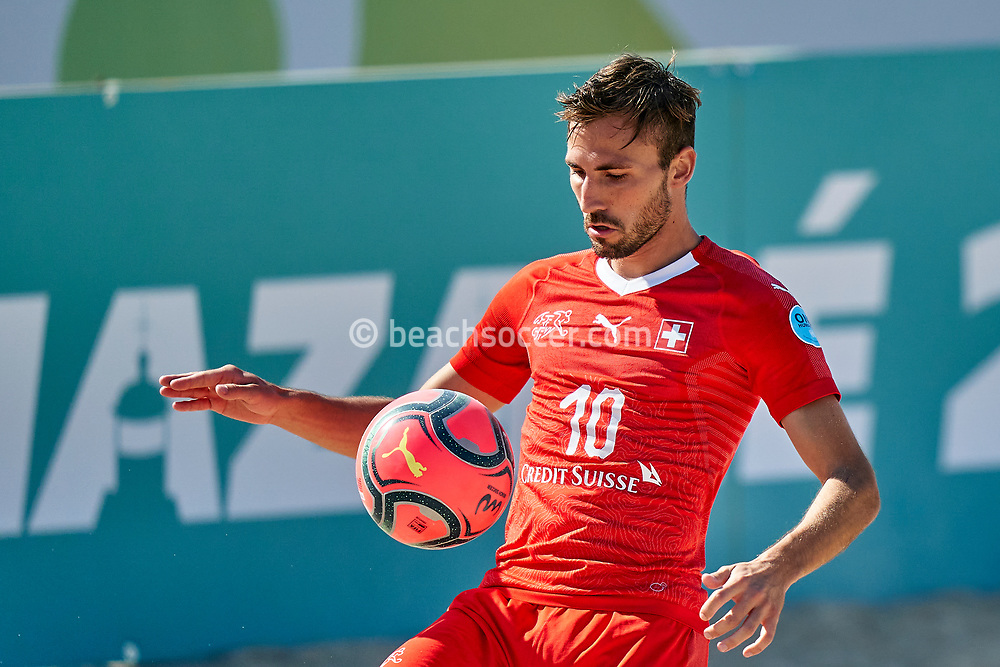 NAZARE, PORTUGAL - SEPTEMBER 5: Noel Ott of Switzerland during day 4 of the Euro Beach Soccer League Superfinal at Estadio do Viveiro on September 5, 2020 in Nazare, Portugal. (Photo by Jose Manuel Alvarez/BSWW)