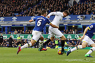 Phil Jagielka of Everton fouls Gylfi Sigudsson of Swansea City and gives away a penalty. Premier league match, Everton v Swansea city at Goodison Park in Liverpool, Merseyside on Saturday 19th November 2016.<br /> pic by Chris Stading, Andrew Orchard sports photography.