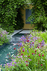 Canal in the Laurent-Perrier Garden with irises and Cirsium rivulare. Weeping hornbeam arbour framing stone panel. Design: Tom Stuart-Smith - Chelsea 2005