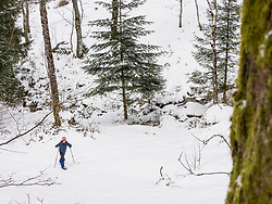 Girl snowshoeing in Black Forest, Germany, Europe