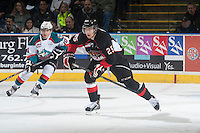 KELOWNA, CANADA - JANUARY 3: Tate Olson #25 of Prince George Cougars skates against the Kelowna Rockets on January 3, 2015 at Prospera Place in Kelowna, British Columbia, Canada.  (Photo by Marissa Baecker/Shoot the Breeze)  *** Local Caption *** Tate Olson;