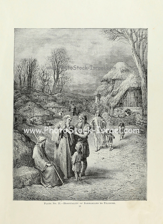 Plate II Hospitality of Barbarians to Pilgrims from the book Story of the crusades. with a magnificent gallery of one hundred full-page engravings by the world-renowned artist, Gustave Doré [Gustave Dore] by Boyd, James P. (James Penny), 1836-1910. Published in Philadelphia 1892