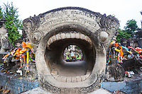 Jaws of Life, at Sala Keoku park features large, extraordinary concrete sculptures inspired by Buddhism and Hinduism.  The park reflects the vision of Bunleua Sulilat - a Lao mystic and sculptor.  It shares the vision of Buddha Park on the Lao side of the Mekong - Sulilat's earlier creation.  Some feel that the most interesting part of the park is the Wheel of Life, a cluster of sculptures representing the cycle of birth and death.