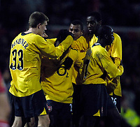 Photo: Jed Wee.<br /> Doncaster Rovers v Arsenal. Carling Cup. 21/12/2005.<br /> <br /> Arsenal mob Quincy Owusu-Abeyie (C) whos scored their equaliser via a deflected shot.