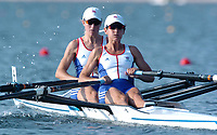20040815 Olympic Games Athens Greece [Rowing]<br />  Schinias  - Photo  Peter Spurrier <br /> GBR LW2X Left Helen Casey and Tracy Langlands.