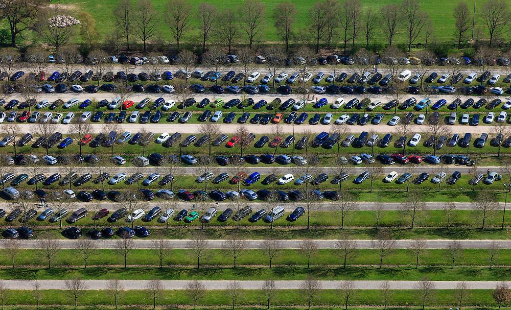 Nederland, Overijssel,  Gemeente Hardenberg, 01-05-2013; vakantiepark en attractiepark Slagharen (voorheen Shetland Ponypark Slagharen). Parkeerterrein<br /> Themepark & Resort Slagharen, parking lot..<br /> luchtfoto (toeslag op standard tarieven)<br /> aerial photo (additional fee required)<br /> copyright foto/photo Siebe Swart