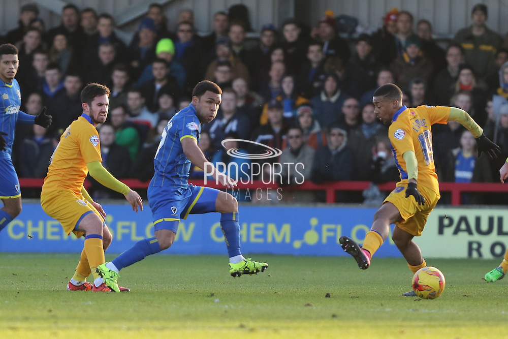 Andy Barcham of AFC Wimbledon in action during the Sky Bet League 2 match between AFC Wimbledon and Mansfield Town at the Cherry Red Records Stadium, Kingston, England on 16 January 2016. Photo by Stuart Butcher.