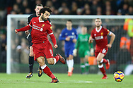 Mohamed Salah of Liverpool passes the ball. Premier League match, Liverpool v Chelsea at the Anfield stadium in Liverpool, Merseyside on Saturday 25th November 2017.<br /> pic by Chris Stading, Andrew Orchard sports photography.