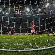 Galatasaray's scores during their Turkish Super League soccer match Galatasaray between Istanbul Basaksehir at the AliSamiYen Spor Kompleksi TT Arena at Seyrantepe in Istanbul Turkey on Saturday, 14 March 2015. Photo by Aykut AKICI/TURKPIX