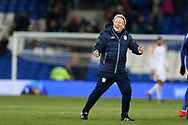 Cardiff city manager Neil Warnock shows his delight as he celebrates Cardiff's 1-0 win at end of the match. EFL Skybet championship match, Cardiff city v Hull city at the Cardiff city stadium in Cardiff, South Wales on Saturday 16th December 2017.<br /> pic by Andrew Orchard, Andrew Orchard sports photography.