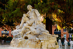 The fountain Pierre Goudouli in the garden of that name in Toulouse, France<br /> <br /> (c) Andrew Wilson | Edinburgh Elite media