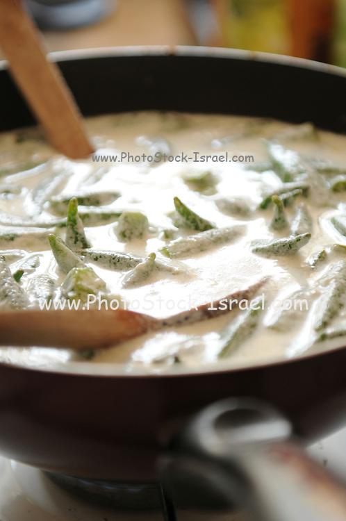 Cooking Okra in Cream sauce