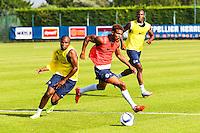 Djamel Bakar / Steve Mounie  - 30.06.2015 - Reprise de Montpellier - 2015/2016<br />Photo : Alexandre Dimou / Icon Sport