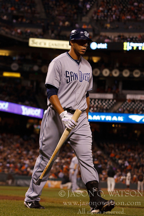 September 12, 2011; San Francisco, CA, USA;  San Diego Padres left fielder Kyle Blanks (88) returns to the dugout after striking out against the San Francisco Giants during the eighth inning at AT&T Park.  San Francisco defeated San Diego 8-3.