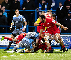 Jamie George of Saracens scores his sides second try<br /> <br /> Photographer Simon King/Replay Images<br /> <br /> European Rugby Champions Cup Round 4 - Cardiff Blues v Saracens - Saturday 15th December 2018 - Cardiff Arms Park - Cardiff<br /> <br /> World Copyright © Replay Images . All rights reserved. info@replayimages.co.uk - http://replayimages.co.uk