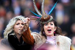 Racegoers cheer during Ladies Day of the 2018 Cheltenham Festival at Cheltenham Racecourse.