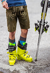 12.05.2018, Grossglockner Hochalpenstrasse, Fusch a.d. Glocknerstrasse, AUT, Großglockner Trophy Fuschertörllauf, im Bild Teilnehmer mit Lederhose und Skischuhe // Participant with leather pants and ski boots during the Großglockner Trophy Fuschertörl Skirace at the Grossglockner Hochalpenstrasse, Fusch a.d. Glocknerstrasse, Austria on 2018/05/03. EXPA Pictures © 2018, PhotoCredit: EXPA/ JFK
