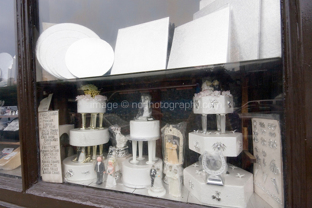 Shop window for the Irish Yeast Company in Dublin Ireland who sell baking equipment and cake decorations