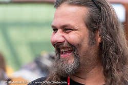 Cycle Source Magazine editor and custom bike builder Chris Callen at the Flying Piston Builder Breakfast at the Buffalo Chip during the 78th annual Sturgis Motorcycle Rally. Sturgis, SD. USA. Sunday August 5, 2018. Photography ©2018 Michael Lichter.
