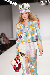 © Licensed to London News Pictures. 01/06/2015. London, UK. Collection by Lauren Anderson. Fashion show of Nottingham Trent University at Graduate Fashion Week 2015. Graduate Fashion Week takes place from 30 May to 2 June 2015 at the Old Truman Brewery, Brick Lane. Photo credit : Bettina Strenske/LNP