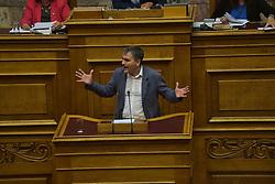 June 9, 2017 - Athens, Attiki, Greece - Euclid Tsakalotos, Greek Minister of Finance during his speech in Hellenic Parliament. (Credit Image: © Dimitrios Karvountzis/Pacific Press via ZUMA Wire)