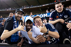 February 23, 2019 - Melbourne, VIC, U.S. - MELBOURNE, VIC - FEBRUARY 23: Victory fans celebrate at the camera at round 20 of the Hyundai A-League Soccer between Melbourne City FC and Melbourne Victory on February 23, 2019 at Marvel Stadium, VIC. (Photo by Speed Media/Icon Sportswire) (Credit Image: © Speed Media/Icon SMI via ZUMA Press)