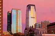 The Goldman Sachs building in Jersey City at sunset, viewed from downtown Jersey City, New Jersey.
