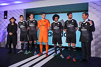 Japanese fashion designer Yohji Yamamoto, Real's James Rodriguez, Gareth Bale, Iker Casillas, Marcelo and Xabi Alonso, and Real's representative Emilio Butragueno pose for the photographers during the presentation of the Real Madrid's new Champions League kit at the Santiago Bernabeu stadium in Madrid, Spain. May 26, 2013. (ALTERPHOTOS/Victor Blanco)