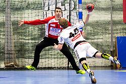18.03.2018, BSFZ Suedstadt, Maria Enzersdorf, AUT, HLA, SG INSIGNIS Handball WESTWIEN vs HC FIVERS WAT Margareten, Bonus-Runde, 6. Runde, im Bild Sandro Uvodic (SG INSIGNIS Handball WESTWIEN), Lukas Hutecek (HC FIVERS WAT Margareten) // during Handball League Austria, Bonus-Runde, 6 th round match between SG INSIGNIS Handball WESTWIEN and HC FIVERS WAT Margareten at the BSFZ Suedstadt, Maria Enzersdorf, Austria on 2018/03/18, EXPA Pictures © 2018, PhotoCredit: EXPA/ Sebastian Pucher
