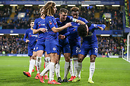 Chelsea Midfielder Willian ducks to avoid objets thrown from the crowd after he scores from the penalty spot 1-0 with Chelsea Midfielder Willian Chelsea Ethian Ampadu and Chelsea Defender Cesar Azpilicueta during the The FA Cup fourth round match between Chelsea and Sheffield Wednesday at Stamford Bridge, London, England on 27 January 2019.