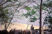 Hombre en caballo arreando ganado con medanos de fondo, Parque Nacional Cinaruco-Capanaparo, Apure, Venezuela