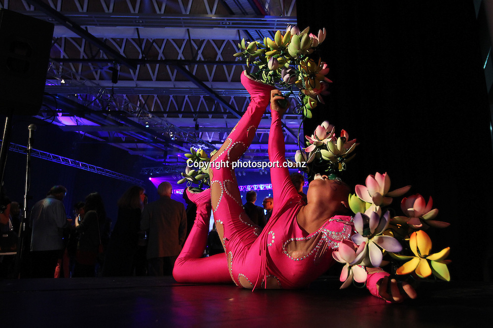 Acrobats perform during New Zealand's major international tourism trade <br /> show. TRENZ Welcome Function. Viaduct Events Centre, Auckland, New Zealand. Sunday 21 April 2013. Photo: Fiona Goodall / Photosport.co.nz