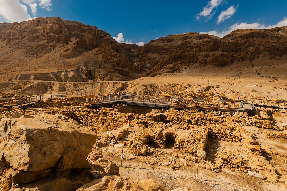 Qumran National Park (archaelogical site where the Dead Sea Scrolls were accidentally discovered in 1947 by a goat herder), Israel.