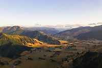 Aerial view of Okaramio valley region during scenic sunset, New Zealand.