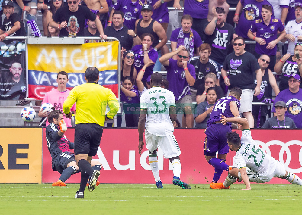 April 8, 2018 - Orlando, FL, U.S. - ORLANDO, FL - APRIL 08: Orlando City forward Dom Dwyer (14) scores the go ahed goal as orlando city come back from a 0-2 start during the MLS soccer match between the Orlando City FC and the Portland Timbers at Orlando City SC on April 8, 2018 at Orlando City Stadium in Orlando, FL. (Photo by Andrew Bershaw/Icon Sportswire) (Credit Image: © Andrew Bershaw/Icon SMI via ZUMA Press)