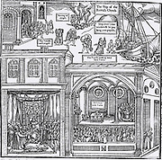 Woodcut from the first edition of John Foxe 'The Book of Martyrs', London 1563, depicting iconoclasm, centre top. In the top part of the image 'papists' are packing away their 'paltry,' while the church is purged of idols. At bottom left   clerics receive the Bible from Queen Elizabeth I. Bottom right shows the interior of a Protestant church with the congregation listening to a sermon, a somple Communion table rther than an altar, and a Baptism taking place.