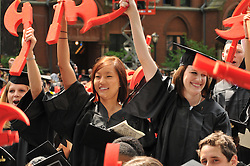 Seniors Excited to Graduate at the Yale University Commencement 2009, Old Campus, New Haven, CT. Credit Photography: James R Anderson