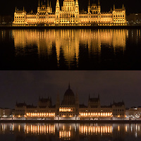 Combination image shows Budapest landmark Building of the Hungarian Parliament with normal decoration lights turned on and off during Earth Hour in downtown Budapest, Hungary on March 28, 2020. ATTILA VOLGYI