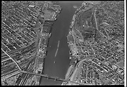 """""""Lower harbor and river through city center. October 5, 1953""""å"""