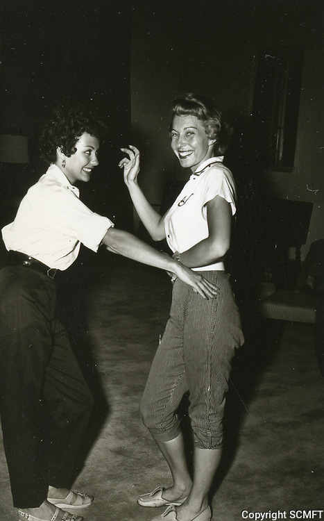 1954 Rita Morino practices dancing at the Hollywood Studio Club