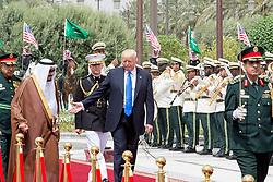 Saudi King Salman Bin Abdelaziz (or Abdul Aziz) Al Saud (left) receives US President Donald Trump and First Lady Melania in Riyadh, Saudi Arabia on May 20, 2017. This is the first US president's visit abroad. Photo by Balkis Press/ABACAPRESS.COM