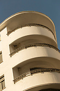 Low angle view of art deco architecture on Boulevard Mohammed V, Casablanca, Morocco