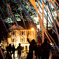 (PMONMOUTH) Manasquan 10/28/2004 Under the cover of dusk residents of Parker AVe in Manasquan blanket the neighborhood trees with toilet paper in celebration of Halloween.  Michael J. Treola Staff PHotographer....MJT