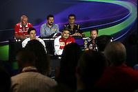 The FIA Press Conference (from back row (L to R)): John Booth (GBR) Marussia F1 Team Team Principal; Paul Hembery (GBR) Pirelli Motorsport Director; Federico Gastaldi (ARG) Lotus F1 Team Deputy Team Principal; Toto Wolff (GER) Mercedes AMG F1 Shareholder and Executive Director; Marco Mattiacci (ITA) Ferrari Team Principal; Christian Horner (GBR) Red Bull Racing Team Principal. <br /> Italian Grand Prix, Friday 5th September 2014. Monza Italy.